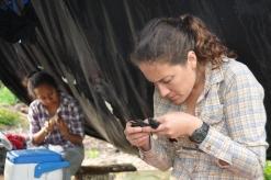 Mari samples a bird in the Galapagos (photo: V. La capra)