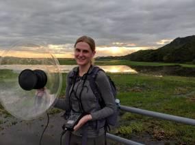 Recording bird vocalizations in Palo Verde National Park, Costa Rica